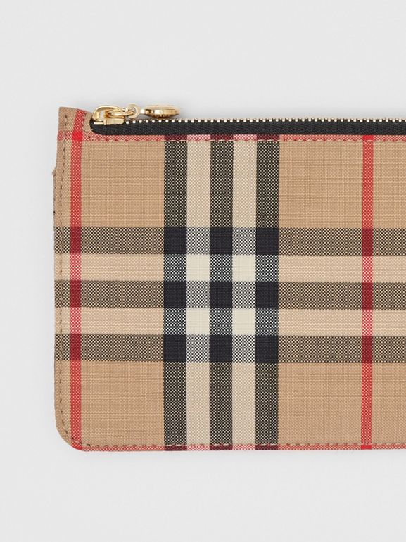 Vintage Check and Leather Phone Wallet in Black - Women | Burberry Hong Kong S.A.R - cell image 1