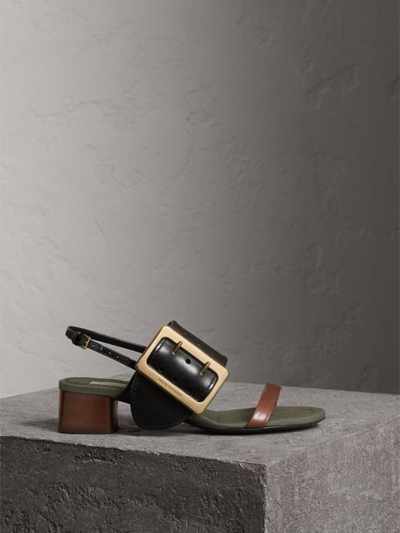 Buckle Detail Leather Mid-heel Sandals in Black