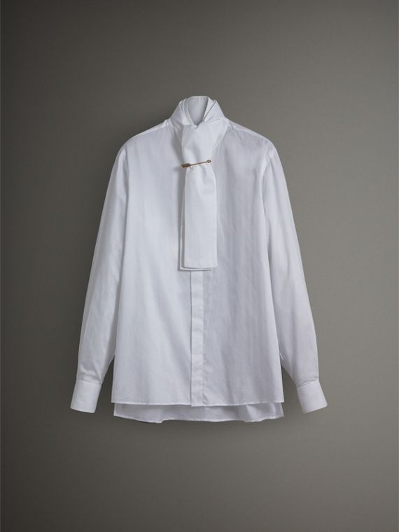 Herringbone Cotton Tie-neck Riding Shirt in White - Men | Burberry - cell image 3