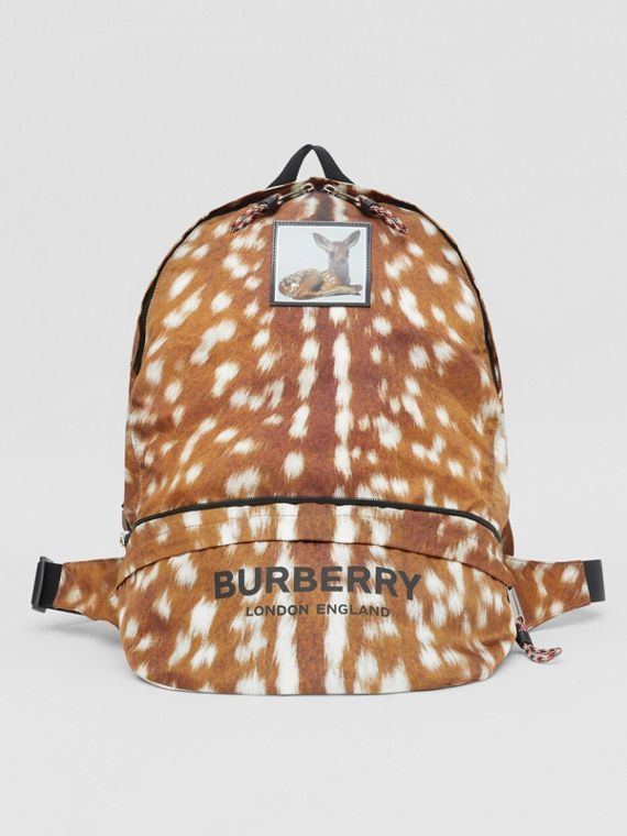 Deer Print Convertible Bum Bag in Tan/white