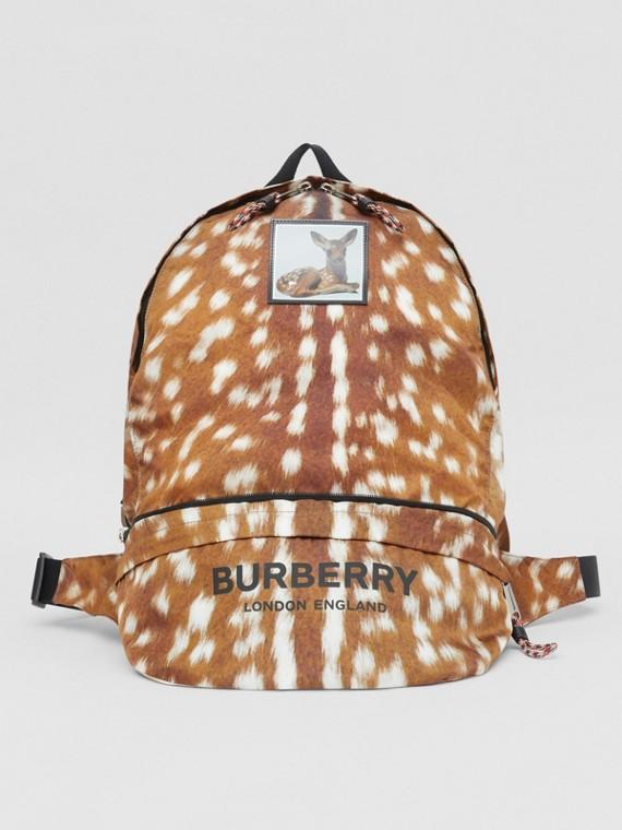 Deer Print Convertible Bum Bag in Tan/white