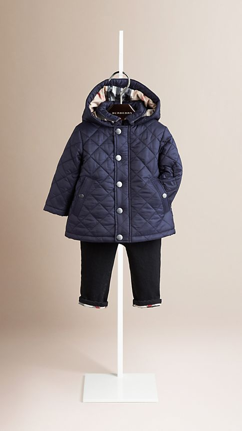 Military navy Check Detail Diamond Quilted Jacket - Image 1