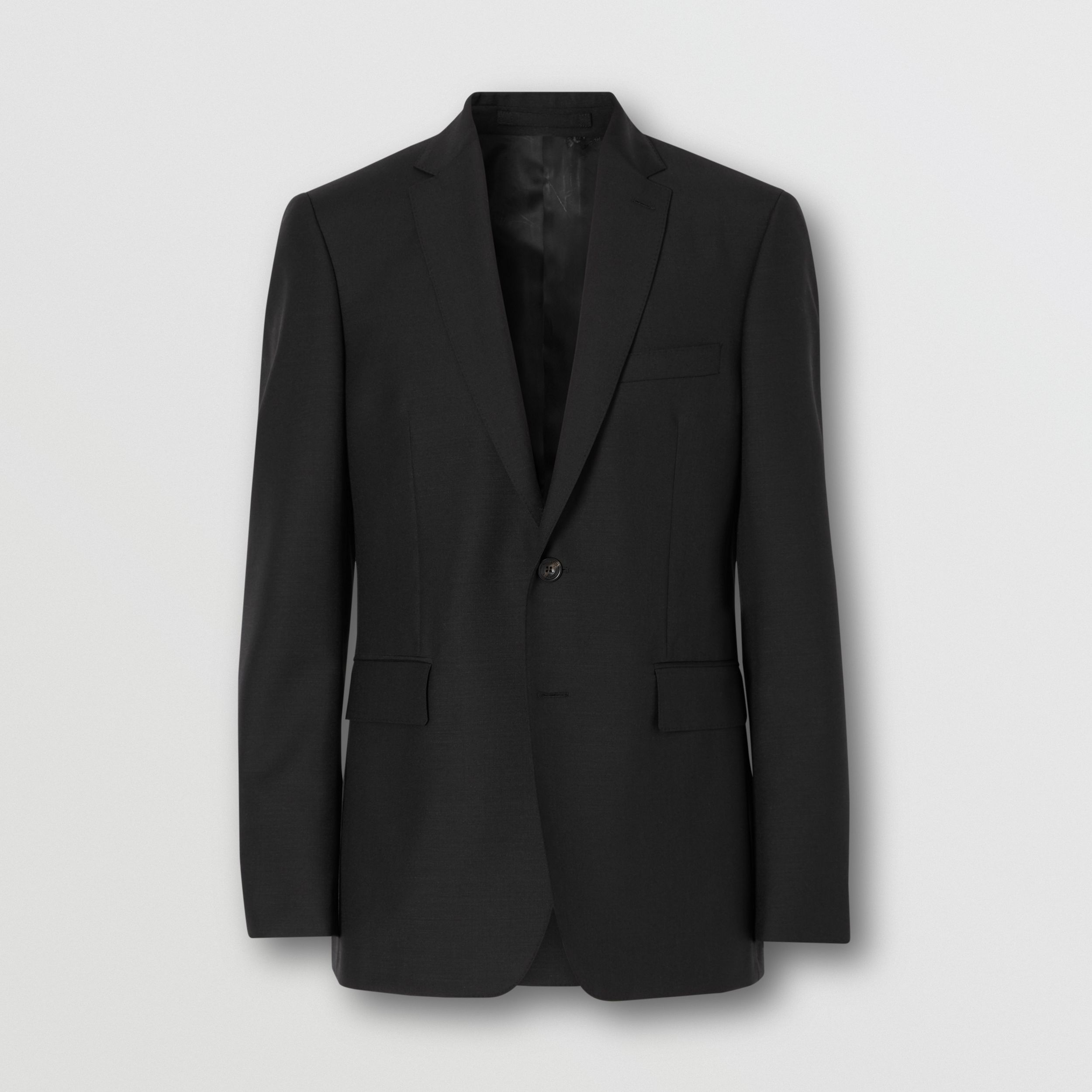 Slim Fit Wool Mohair Suit in Black - Men | Burberry United States - 4