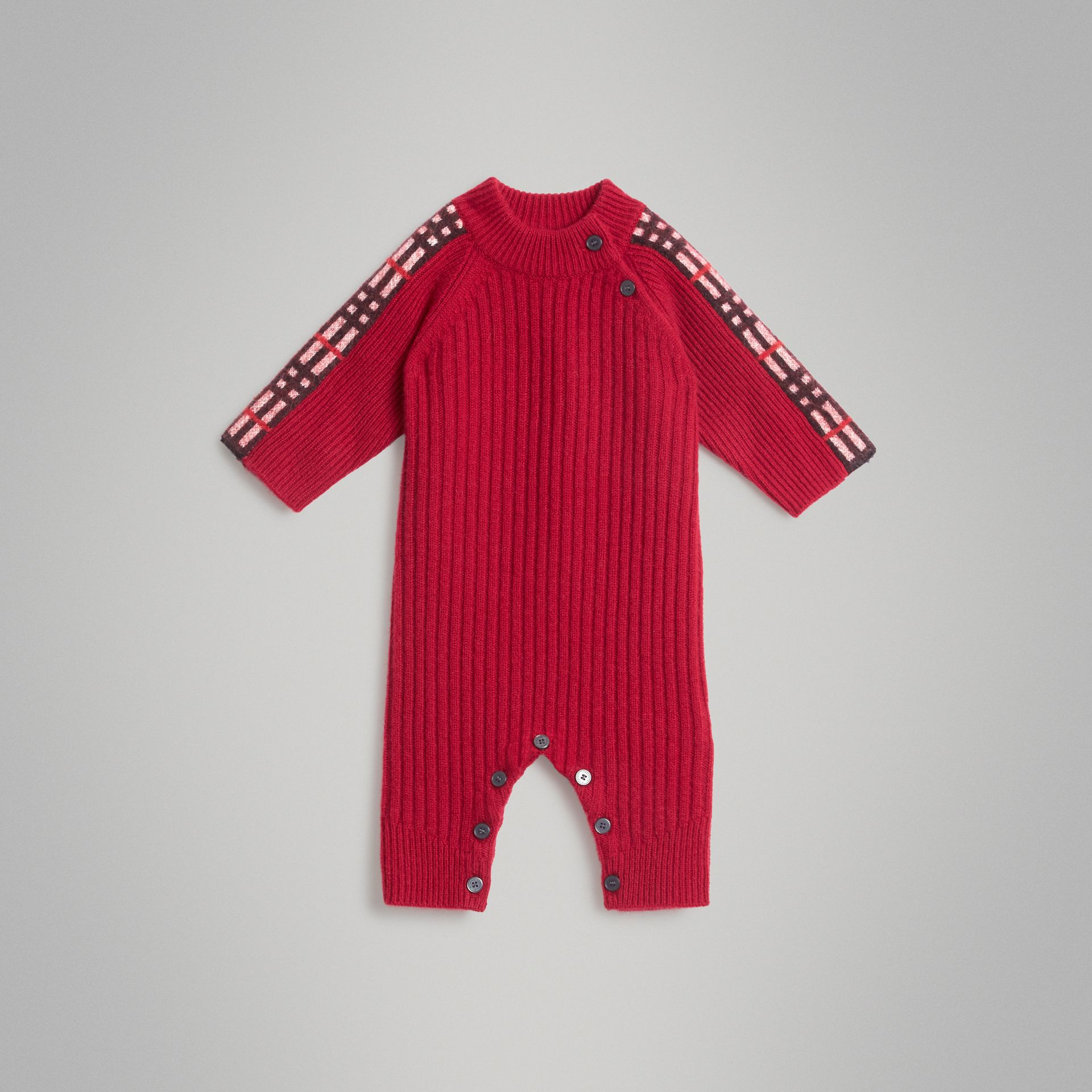Check Detail Cashmere Jumpsuit in Burgundy Red - Children | Burberry - gallery image 0