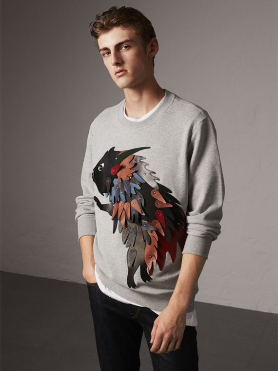 Unisex Beasts Leather Appliqué Cotton Sweatshirt - Men | Burberry
