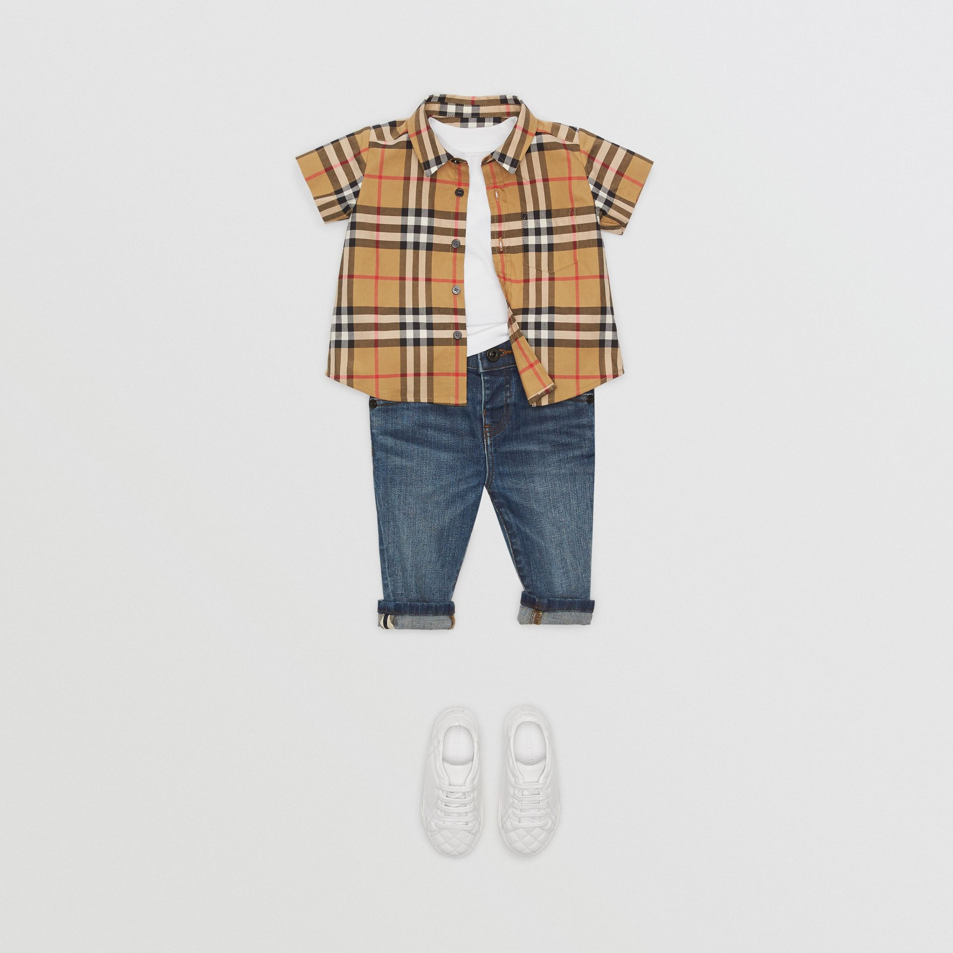Short-sleeve Vintage Check Cotton Shirt in Antique Yellow - Children | Burberry - gallery image 2