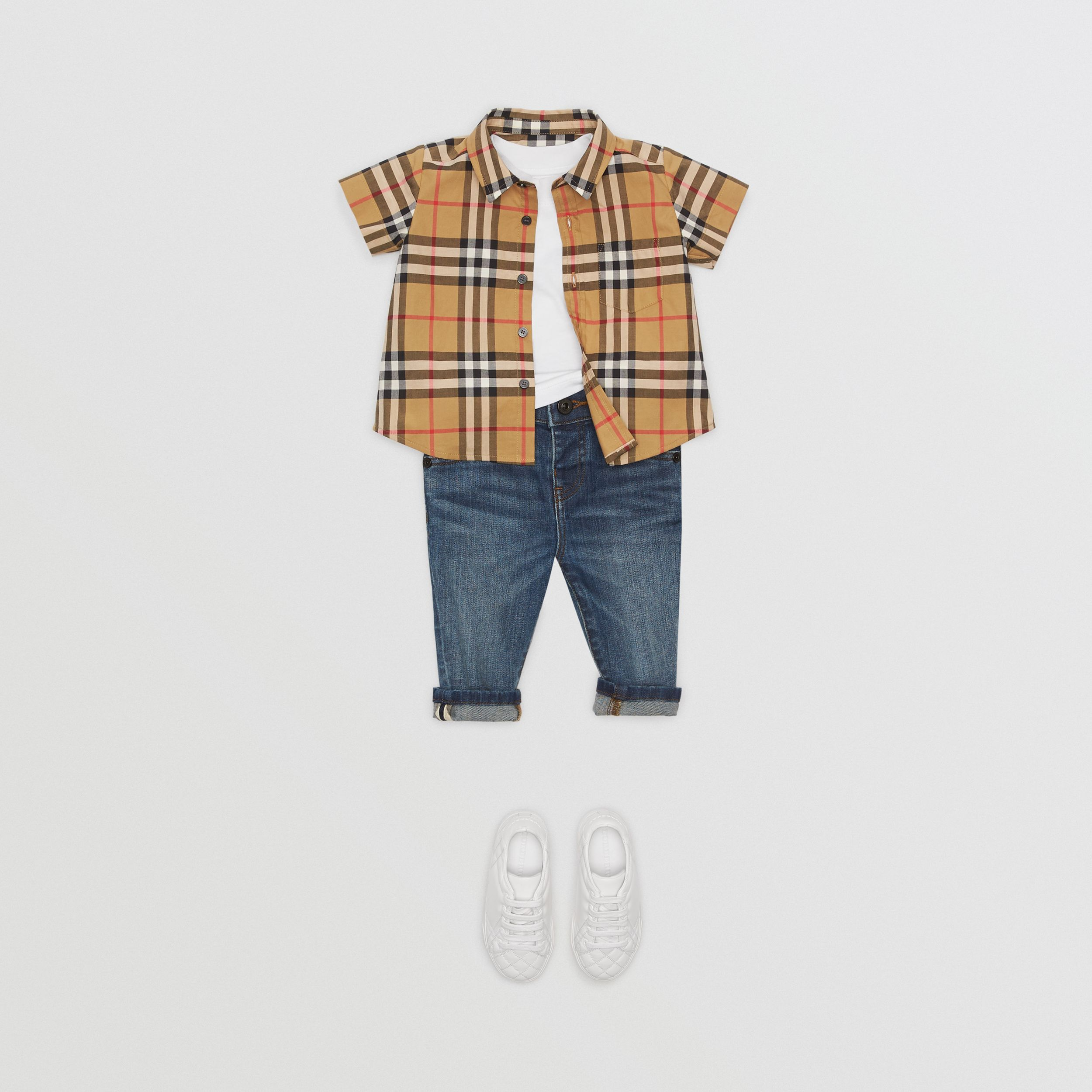 Short-sleeve Vintage Check Cotton Shirt in Antique Yellow - Children | Burberry United Kingdom - 3