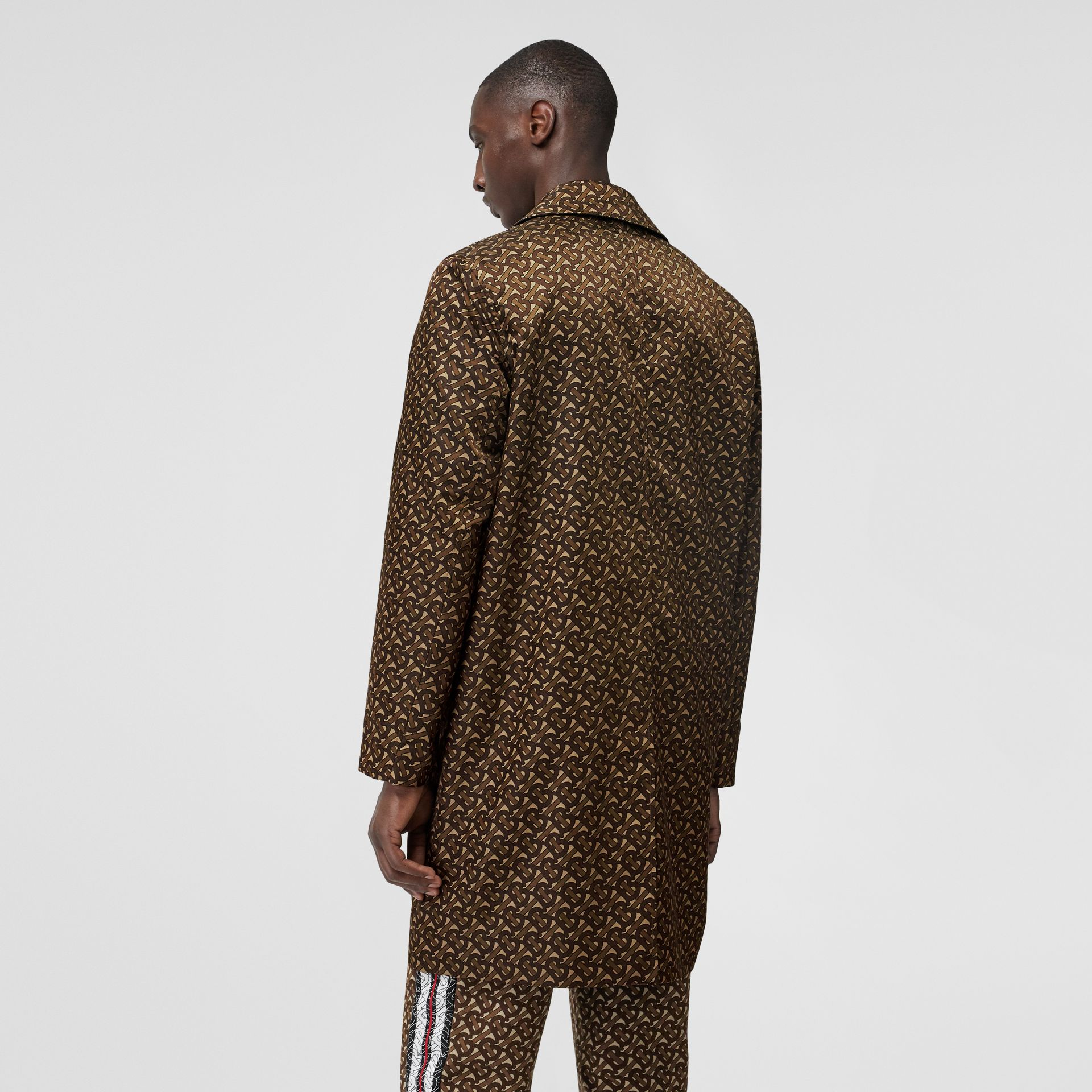 Monogram Stripe Print Nylon Car Coat in Bridle Brown - Men | Burberry United Kingdom - gallery image 2