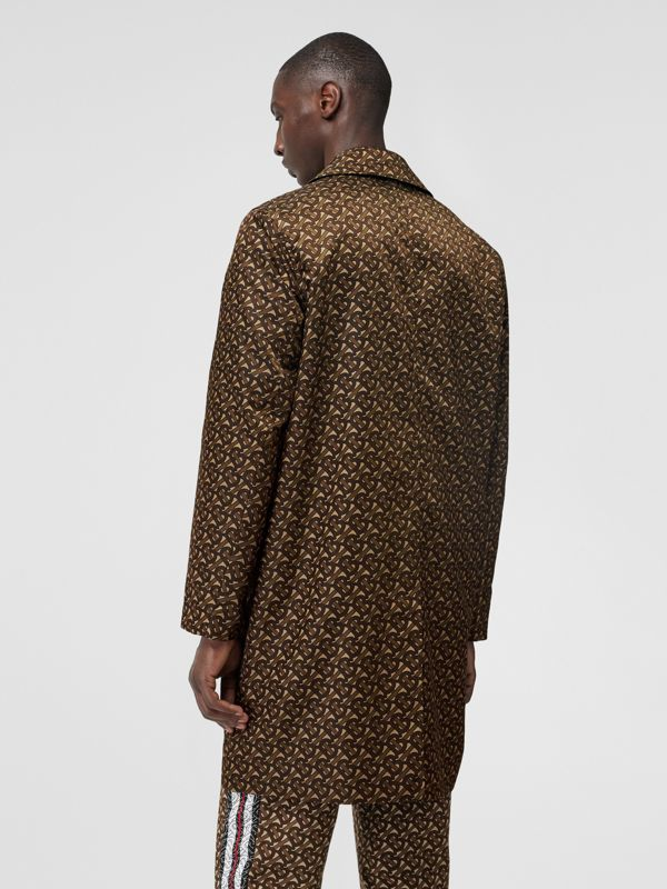 Monogram Stripe Print Nylon Car Coat in Bridle Brown - Men | Burberry - cell image 2