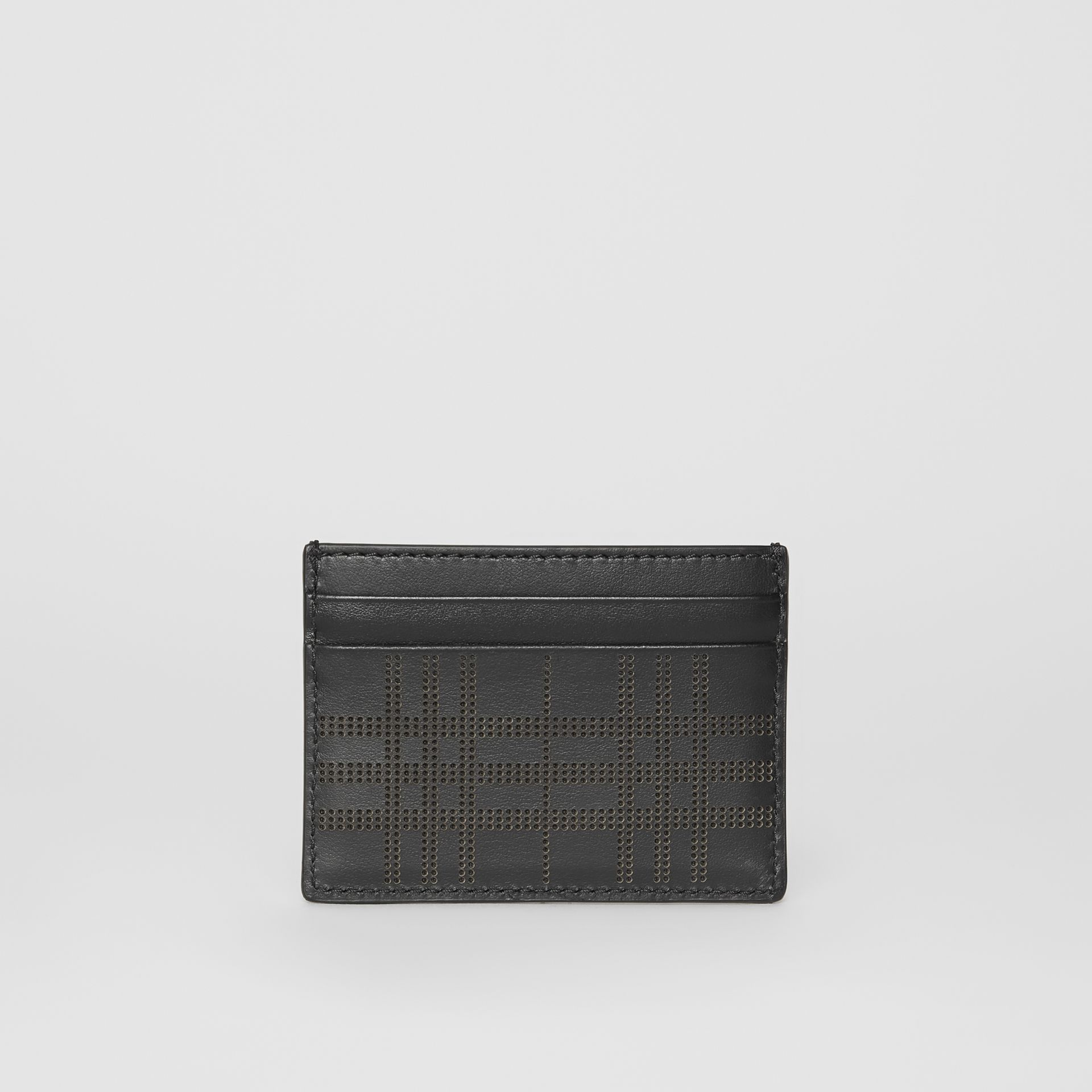 Perforated Check Leather Card Case in Black - Men | Burberry - gallery image 5