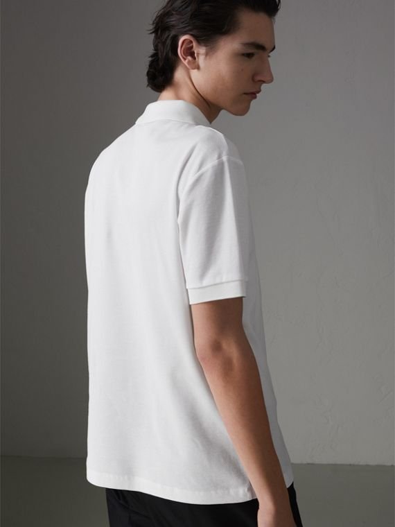 Triple Archive Logo Cotton Piqué Polo Shirt in White - Men | Burberry - cell image 2