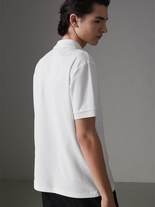 Triple Archive Logo Cotton Piqué Polo Shirt in White - Men | Burberry Hong Kong - cell image 2