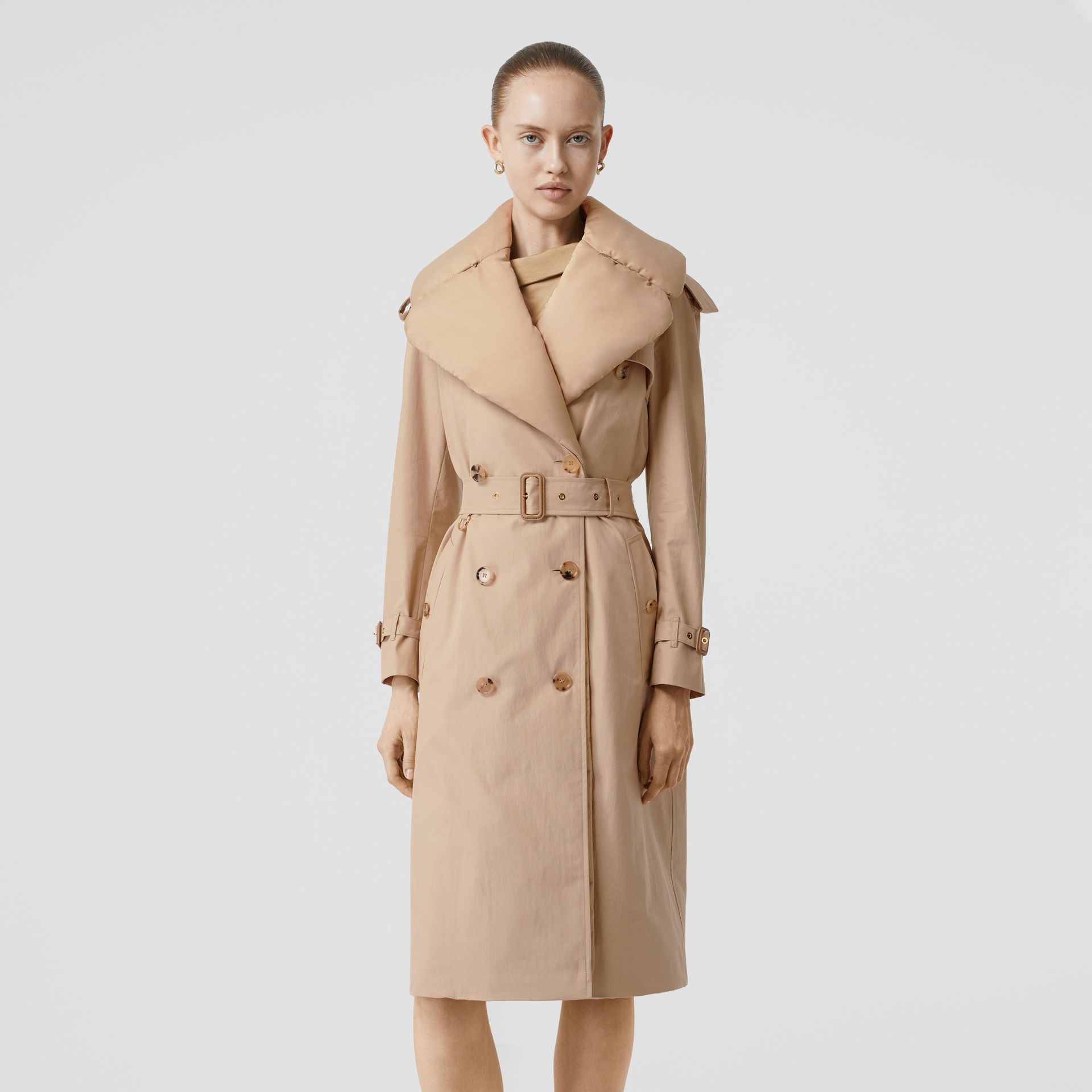 Detachable Collar Cotton Gabardine Trench Coat in Ecru - Women | Burberry United Kingdom - gallery image 6