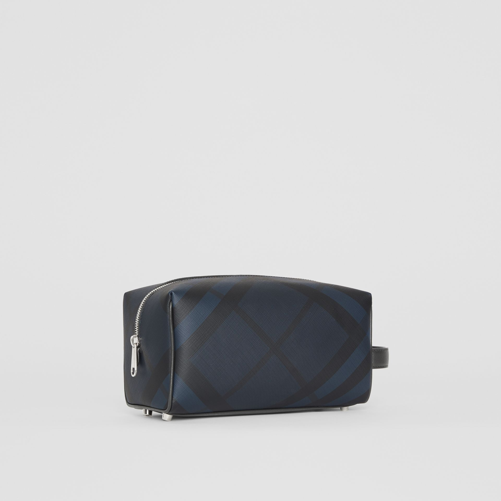 London Check and Leather Pouch in Navy/black - Men | Burberry Hong Kong - gallery image 6