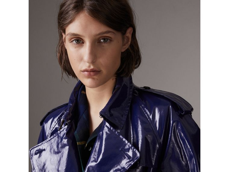 Laminated Cotton Trench Coat in Navy - Women | Burberry - cell image 4