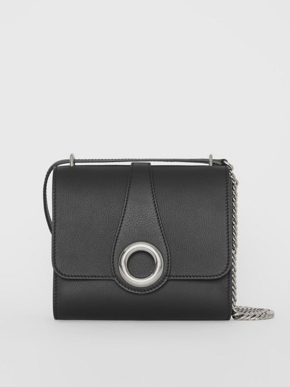 The Leather Grommet Detail Crossbody Bag in Black