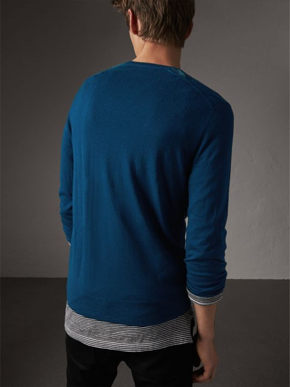 Check Jacquard Detail Cashmere Sweater in Dark Teal - Men | Burberry - cell image 2