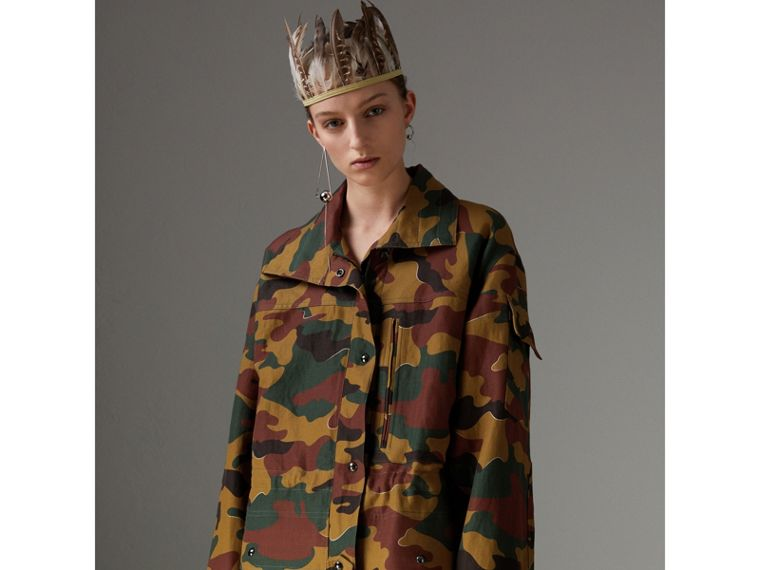 Boyfriend Fit Camouflage Print Jacket in Ochre Green - Women | Burberry - cell image 4