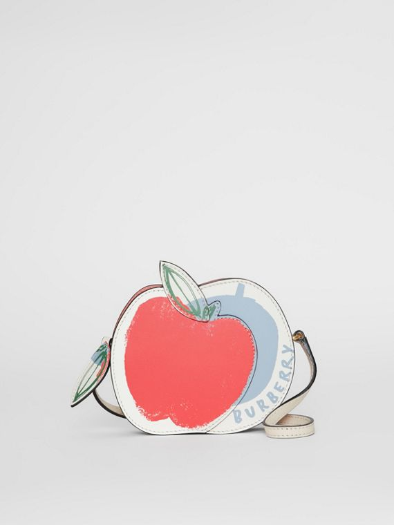Apple Print Leather Crossbody Bag in Multicolour