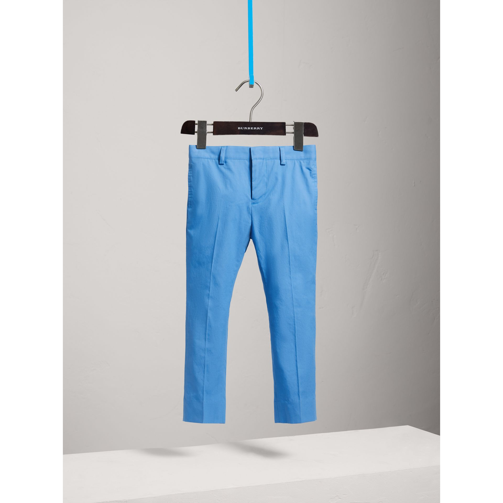 Tailored Cotton Poplin Trousers in Azure Blue - Boy | Burberry - gallery image 0