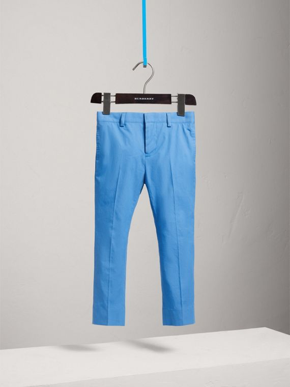 Tailored Cotton Poplin Trousers in Azure Blue