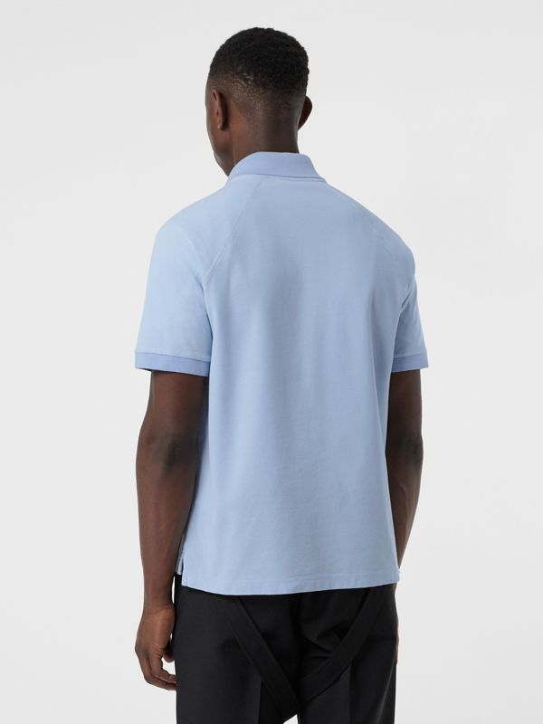 Monogram Motif Cotton Piqué Polo Shirt in Pale Blue | Burberry - cell image 2