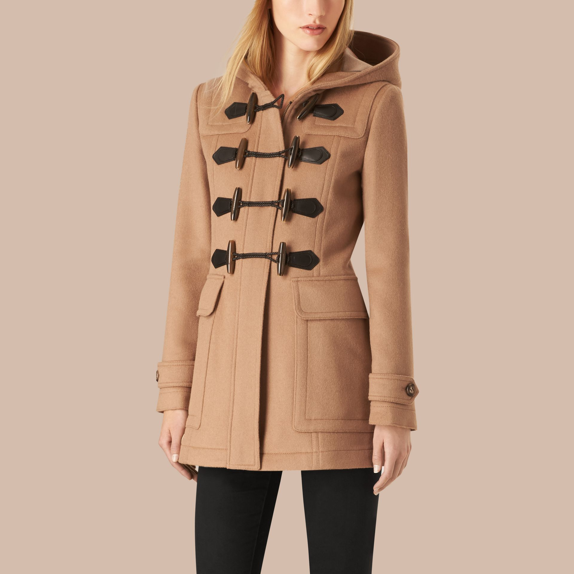 Fitted Wool Duffle Coat in New Camel - gallery image 4