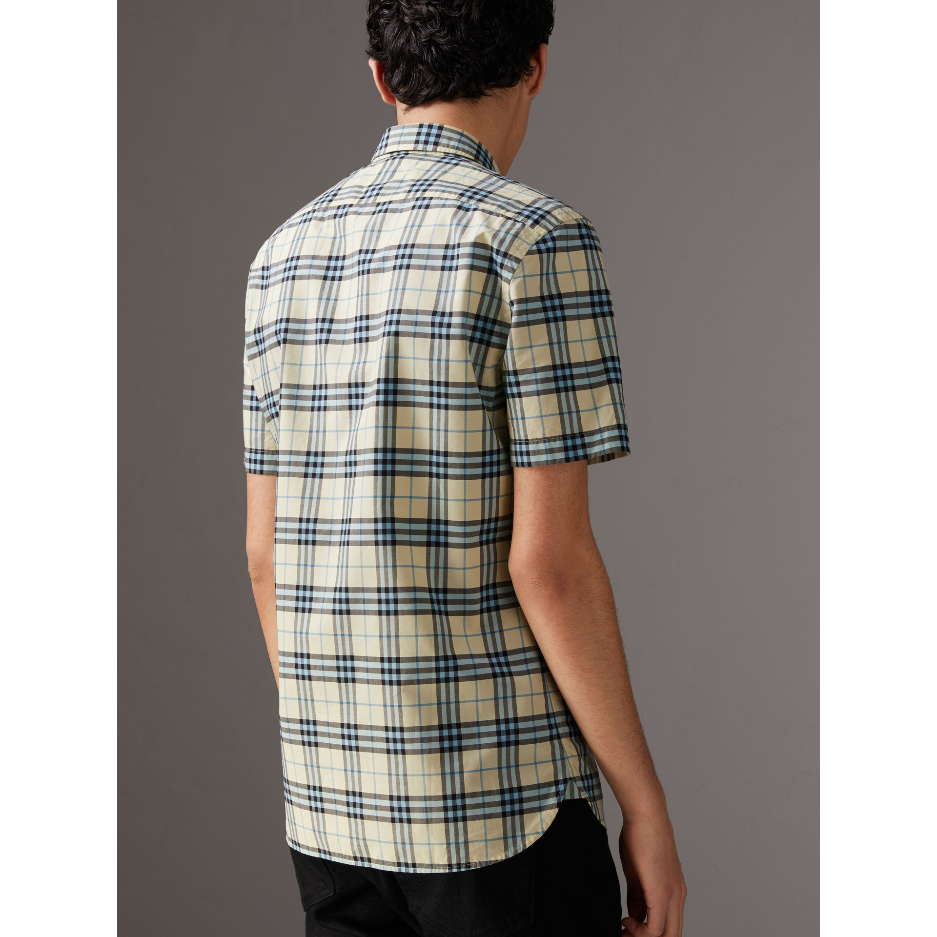 Short-sleeve Check Cotton Shirt in Chalk Yellow - Men | Burberry - gallery image 2