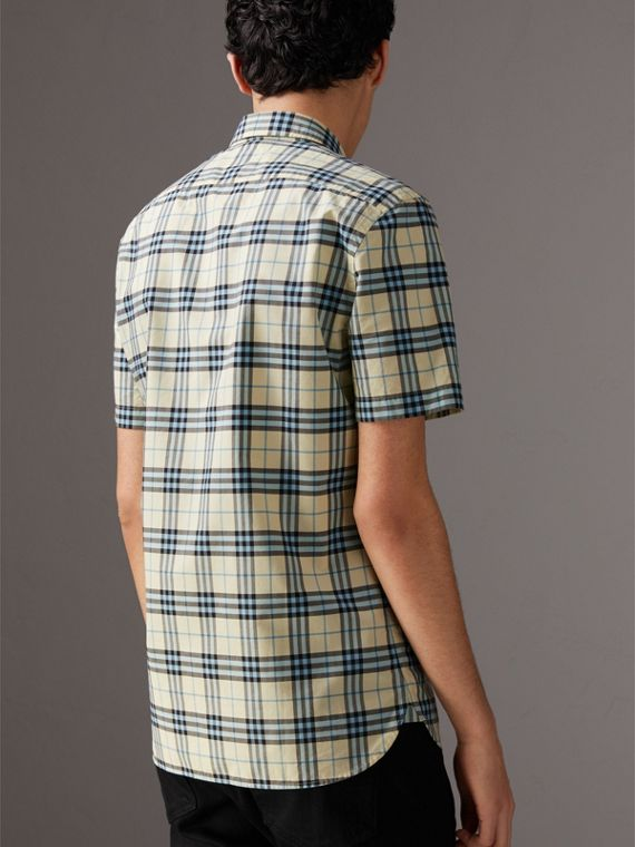 Short-sleeve Check Cotton Shirt in Chalk Yellow - Men | Burberry United Kingdom - cell image 2
