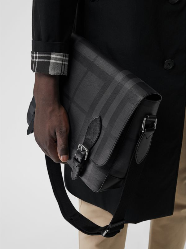 Medium Leather Trim London Check Messenger Bag in Charcoal/black - Men | Burberry Singapore - cell image 3