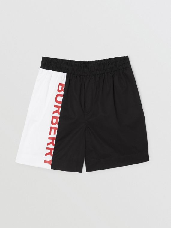 Logo Print Two-tone Cotton Drawcord Shorts in Black