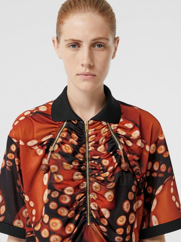 Octopus Print Stretch Jersey Polo Shirt in Coral Red - Women | Burberry Australia - cell image 1