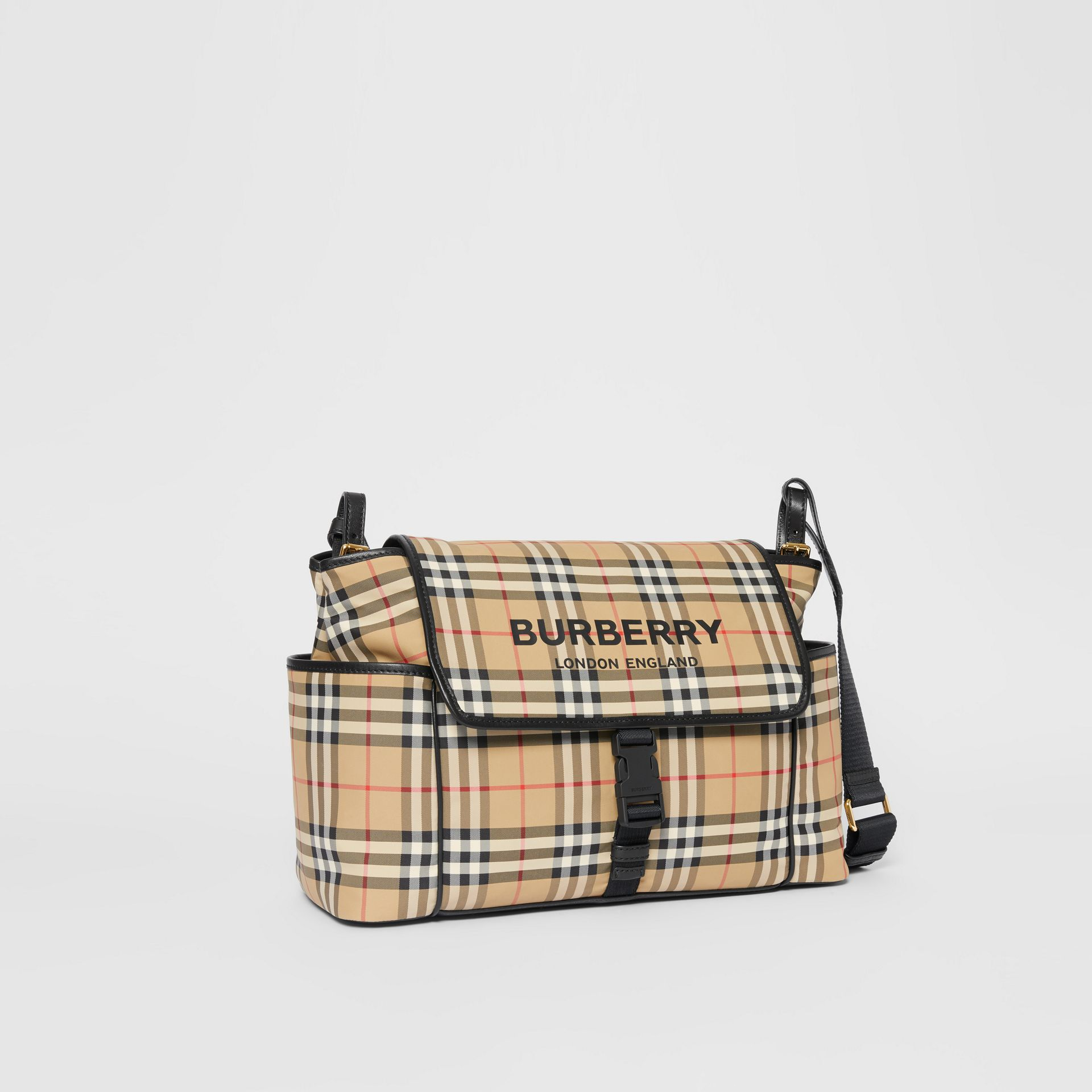 Logo Print Vintage Check Baby Changing Bag in Archive Beige - Children | Burberry - gallery image 4
