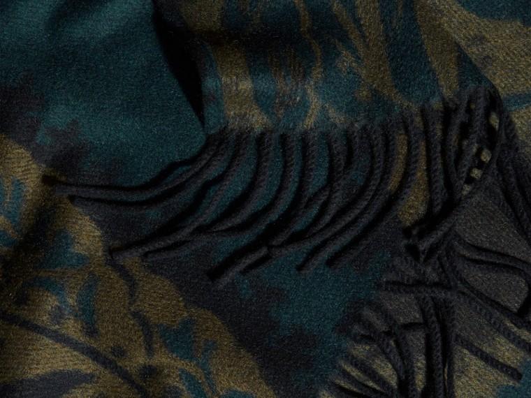 Dark teal Leaf Jacquard Cashmere Poncho Dark Teal - cell image 1