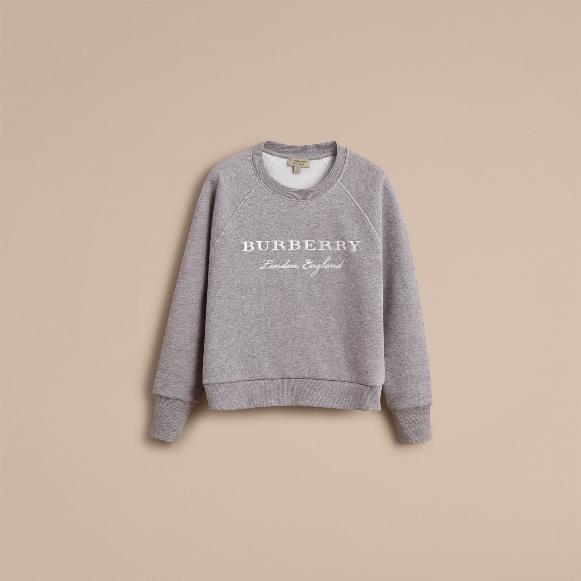 Embroidered Cotton Blend Jersey Sweatshirt in Pale Grey Melange - Women | Burberry - gallery image 4