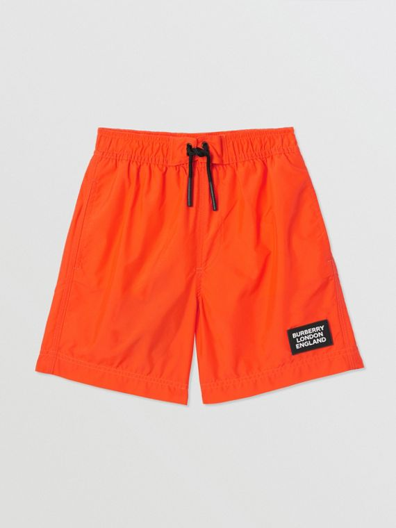Logo Appliqué Swim Shorts in Vermilion Red