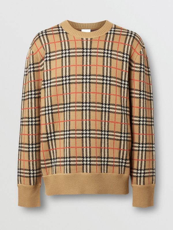 Check Merino Wool Jacquard Sweater in Archive Beige - Men | Burberry United States - cell image 3