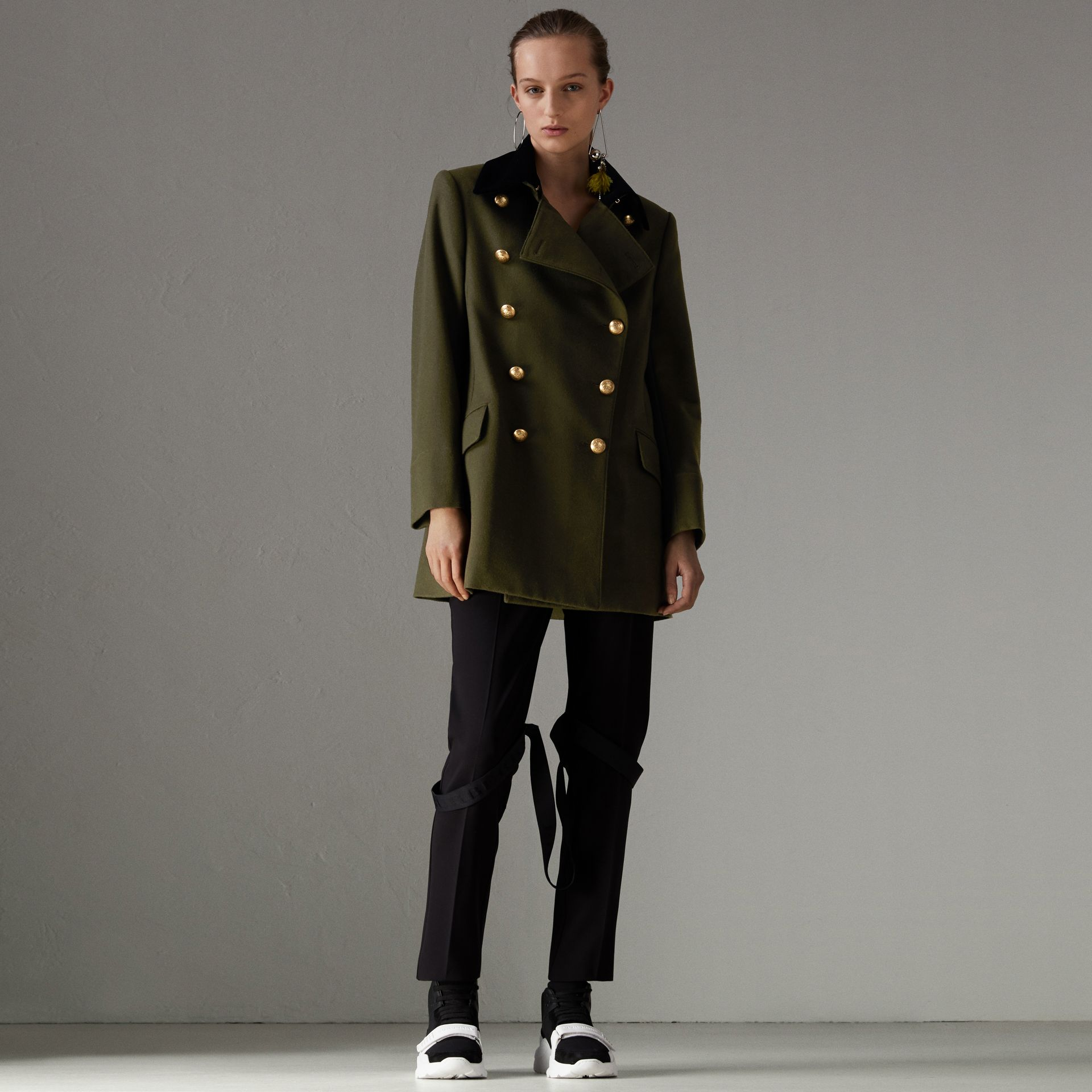 Velvet Collar Wool Military Coat in Olive - Women | Burberry - gallery image 0