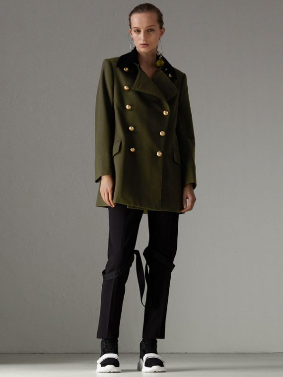 Velvet Collar Wool Military Coat in Olive