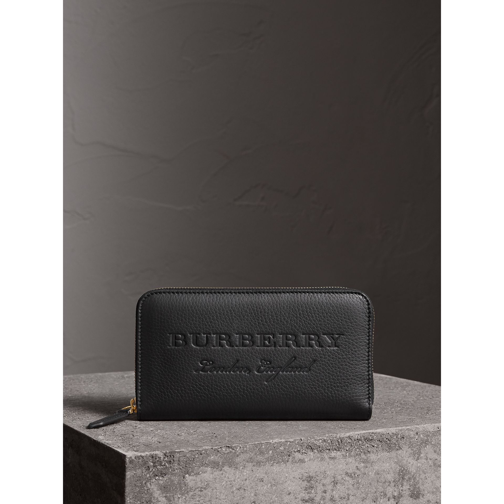 Embossed Leather Ziparound Wallet in Black | Burberry - gallery image 4