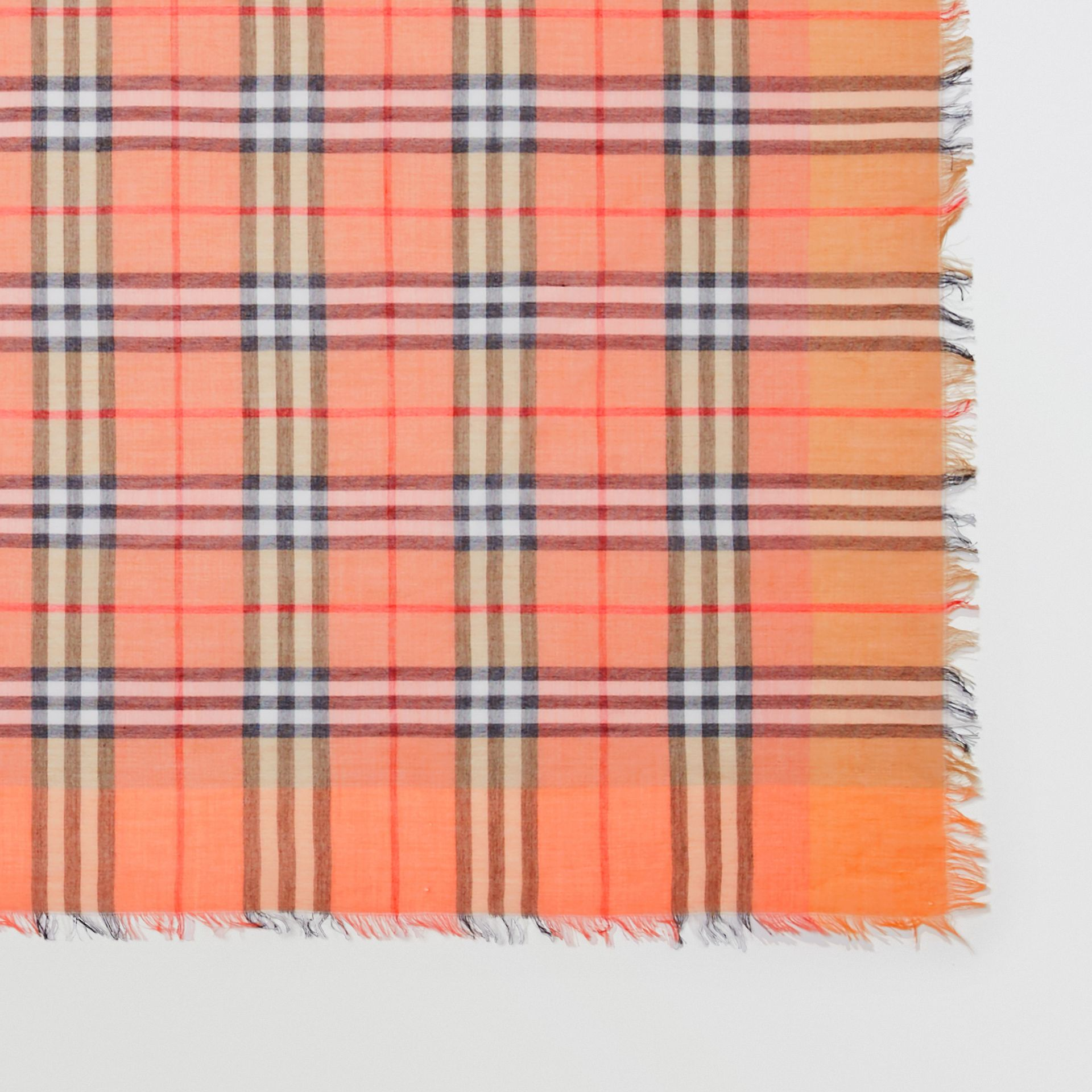 Two-tone Vintage Check Cotton Square Scarf in Coral Rose | Burberry - gallery image 1