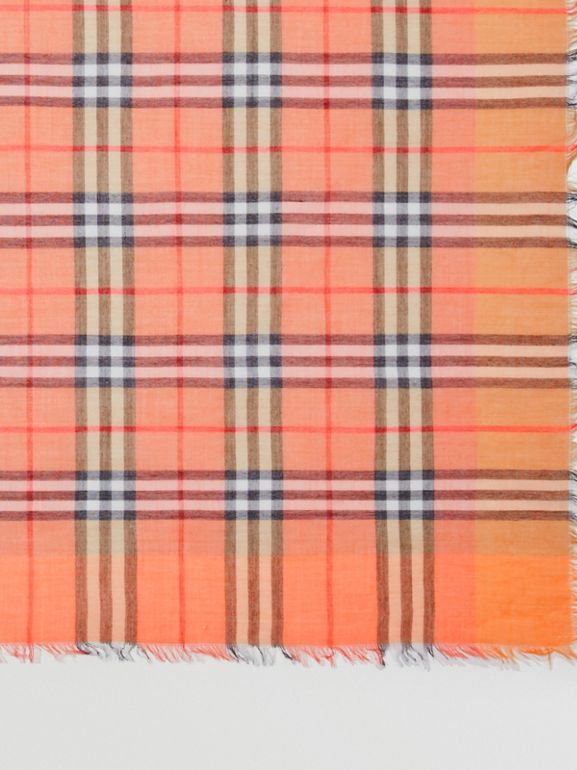 Two-tone Vintage Check Cotton Square Scarf in Coral Rose | Burberry United States - cell image 1