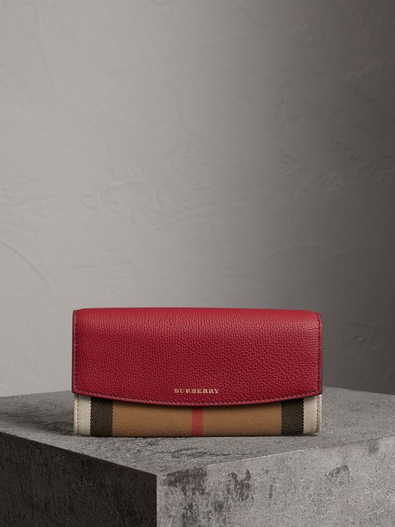House Check and Leather Continental Wallet in Russet Red