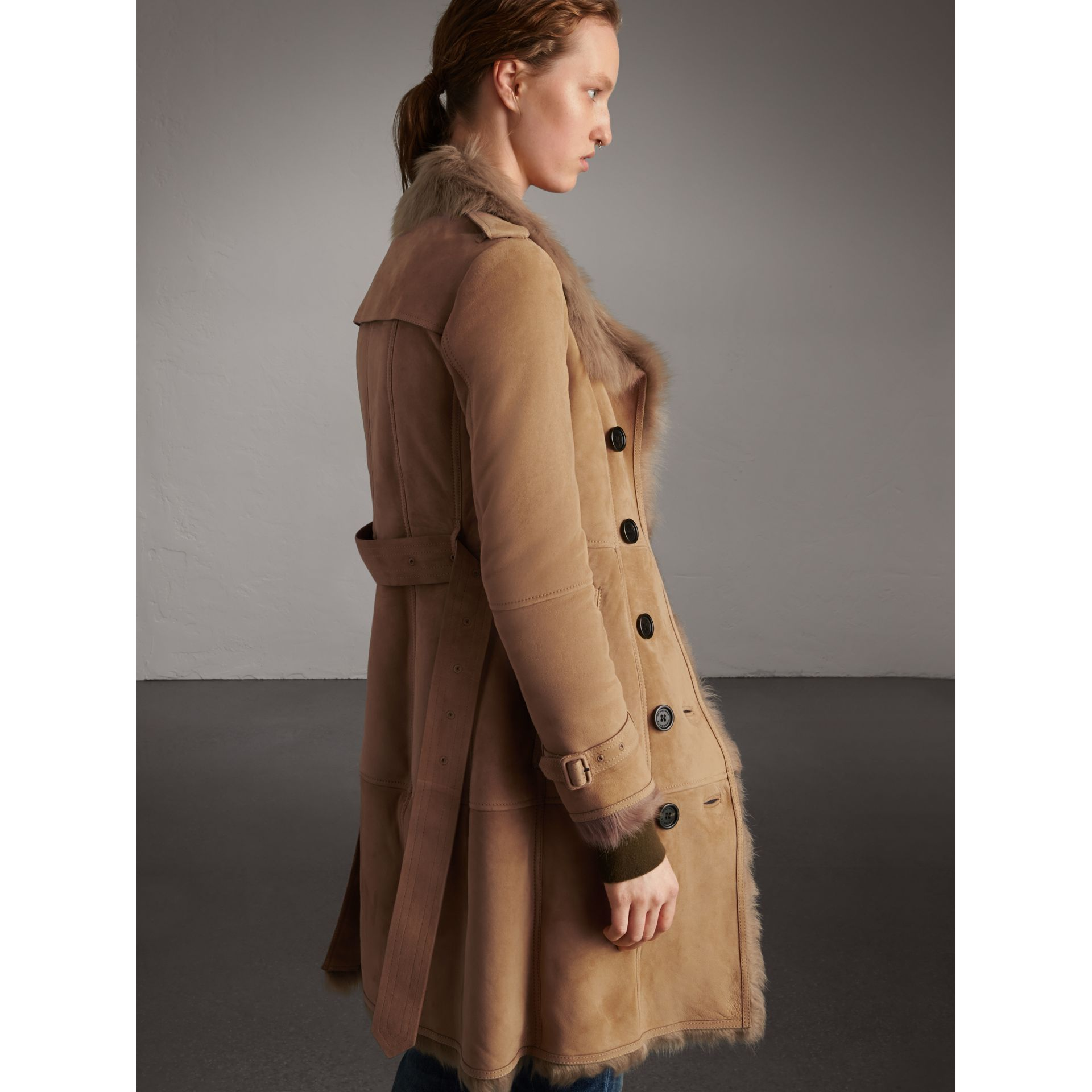 Shearling Trench Coat in Camel - Women | Burberry - gallery image 3