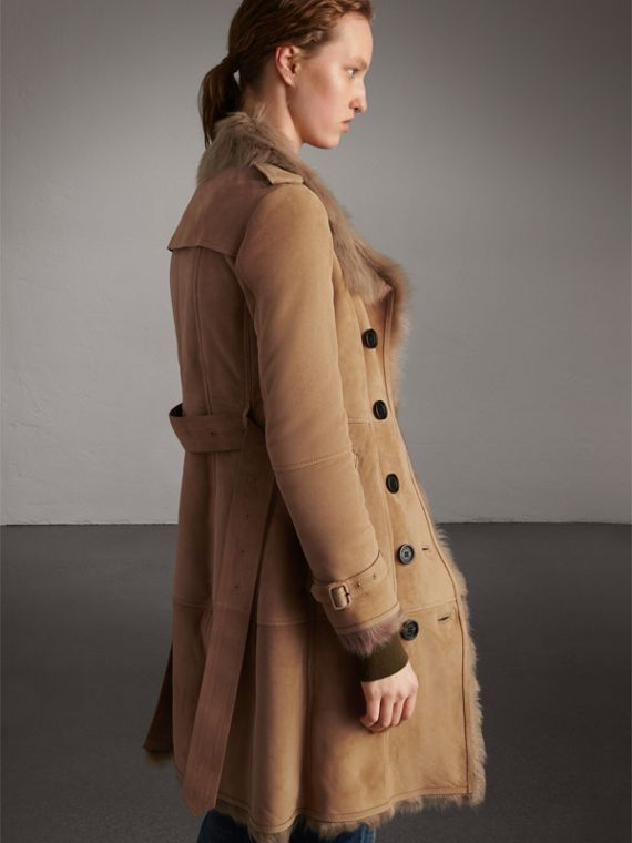 Shearling Trench Coat in Camel - Women | Burberry - cell image 2