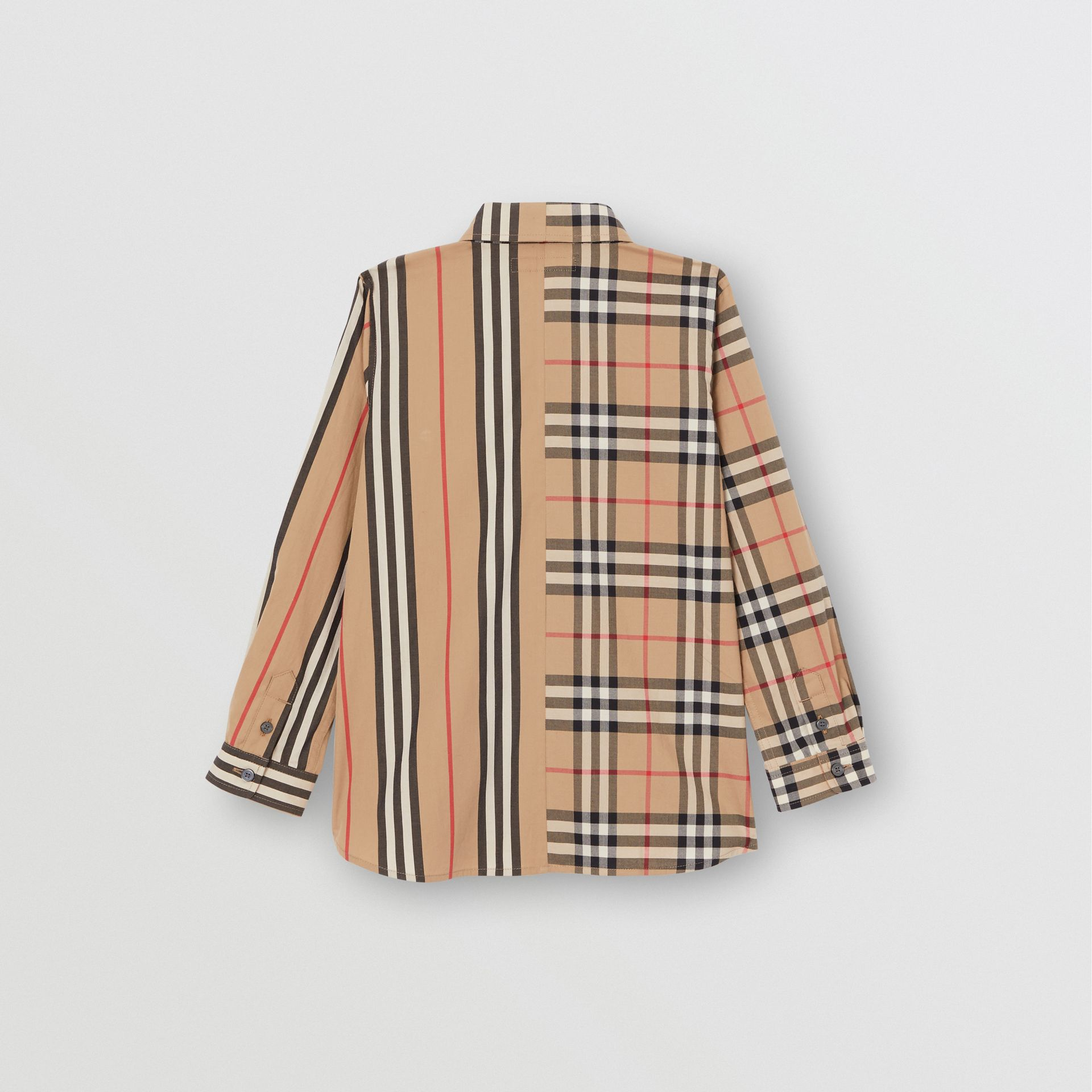 Panelled Vintage Check and Icon Stripe Cotton Shirt in Archive Beige | Burberry Singapore - gallery image 3