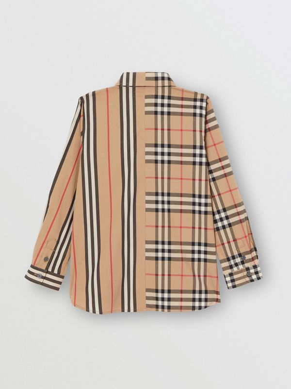 Panelled Vintage Check and Icon Stripe Cotton Shirt in Archive Beige | Burberry United Kingdom - cell image 3