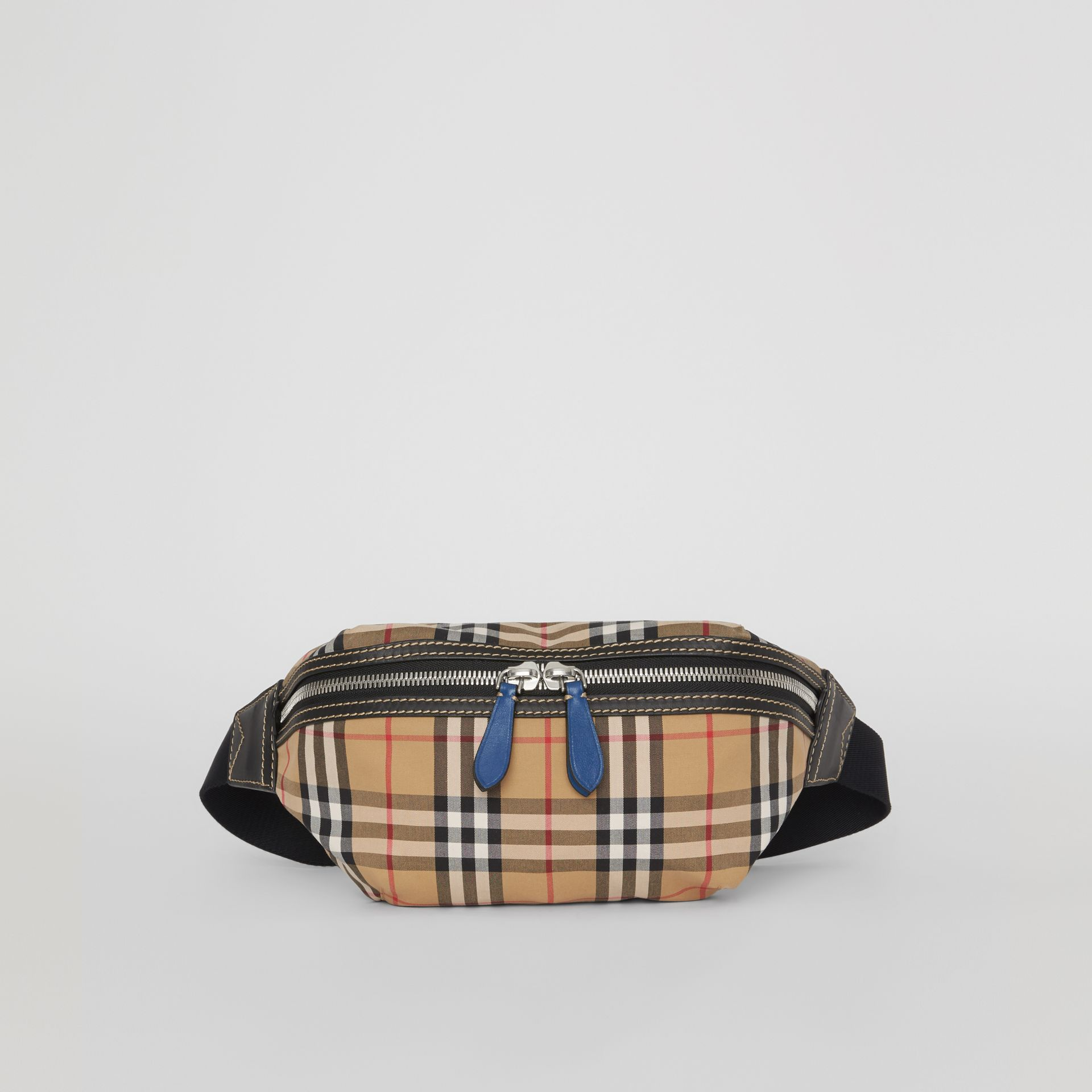 Medium Vintage Check Bum Bag in Canvas Blue - Men | Burberry Australia - gallery image 0
