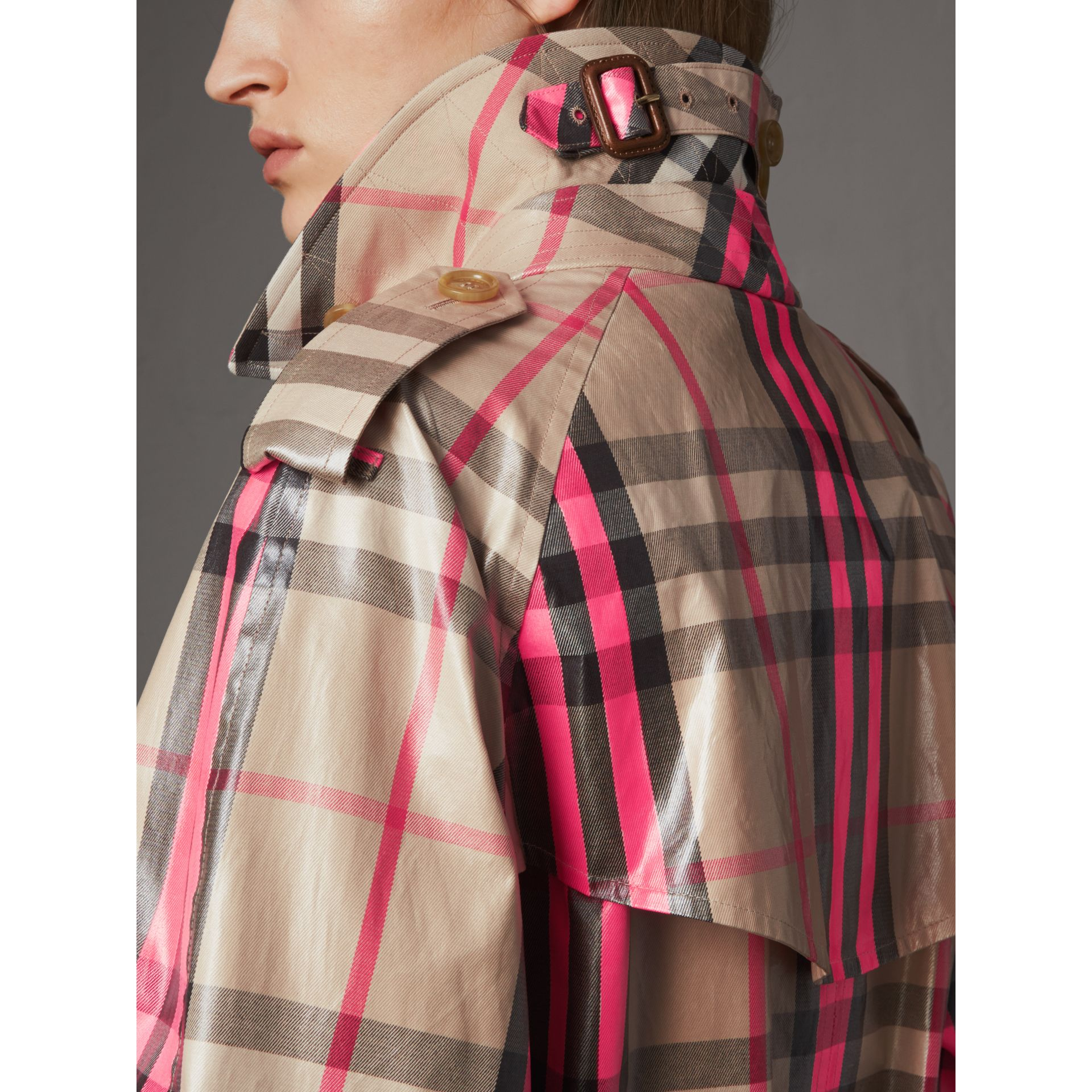 Laminated Check Trench Coat in Neon Pink - Women | Burberry - gallery image 5