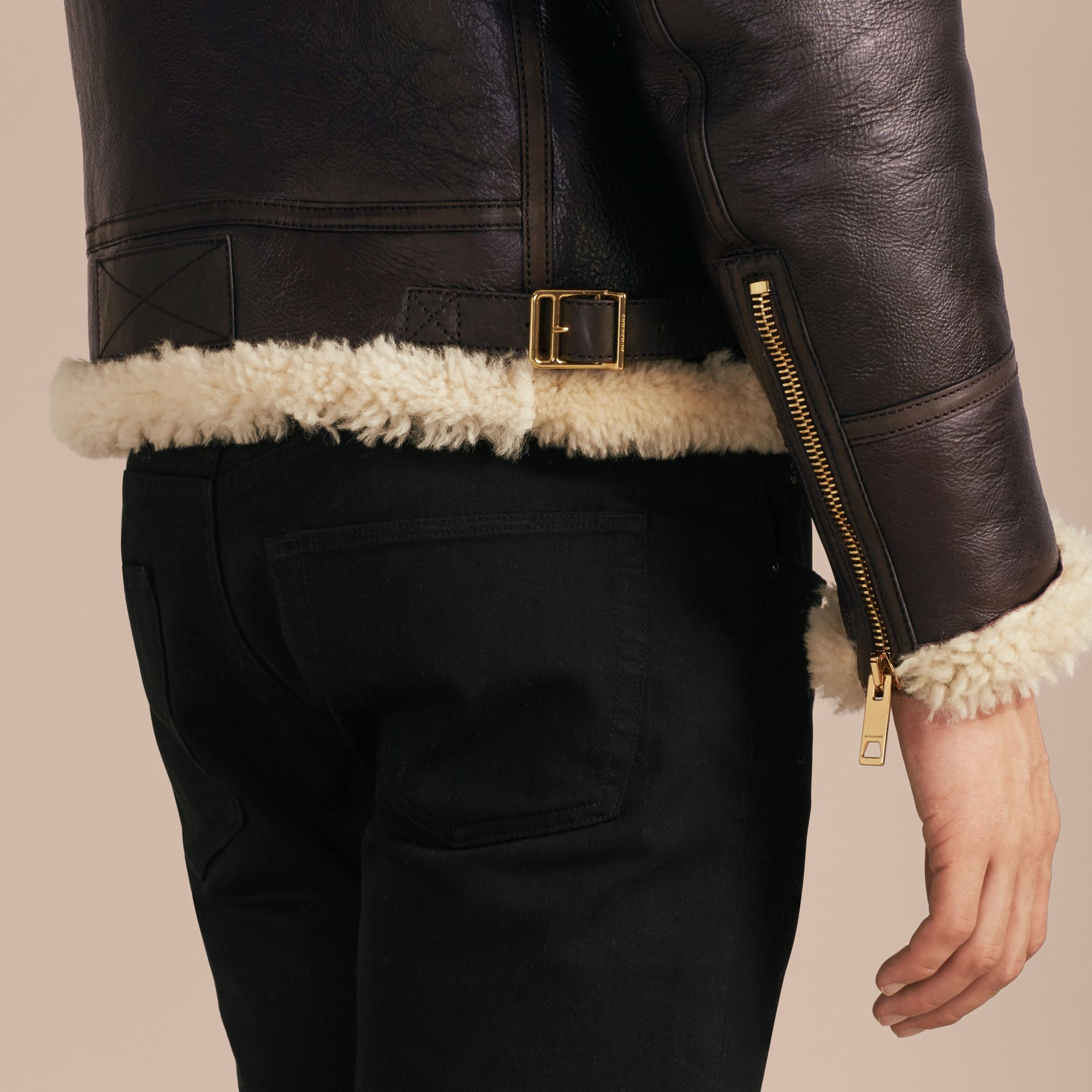 Dark cognac Shearling Aviator Jacket - gallery image 6